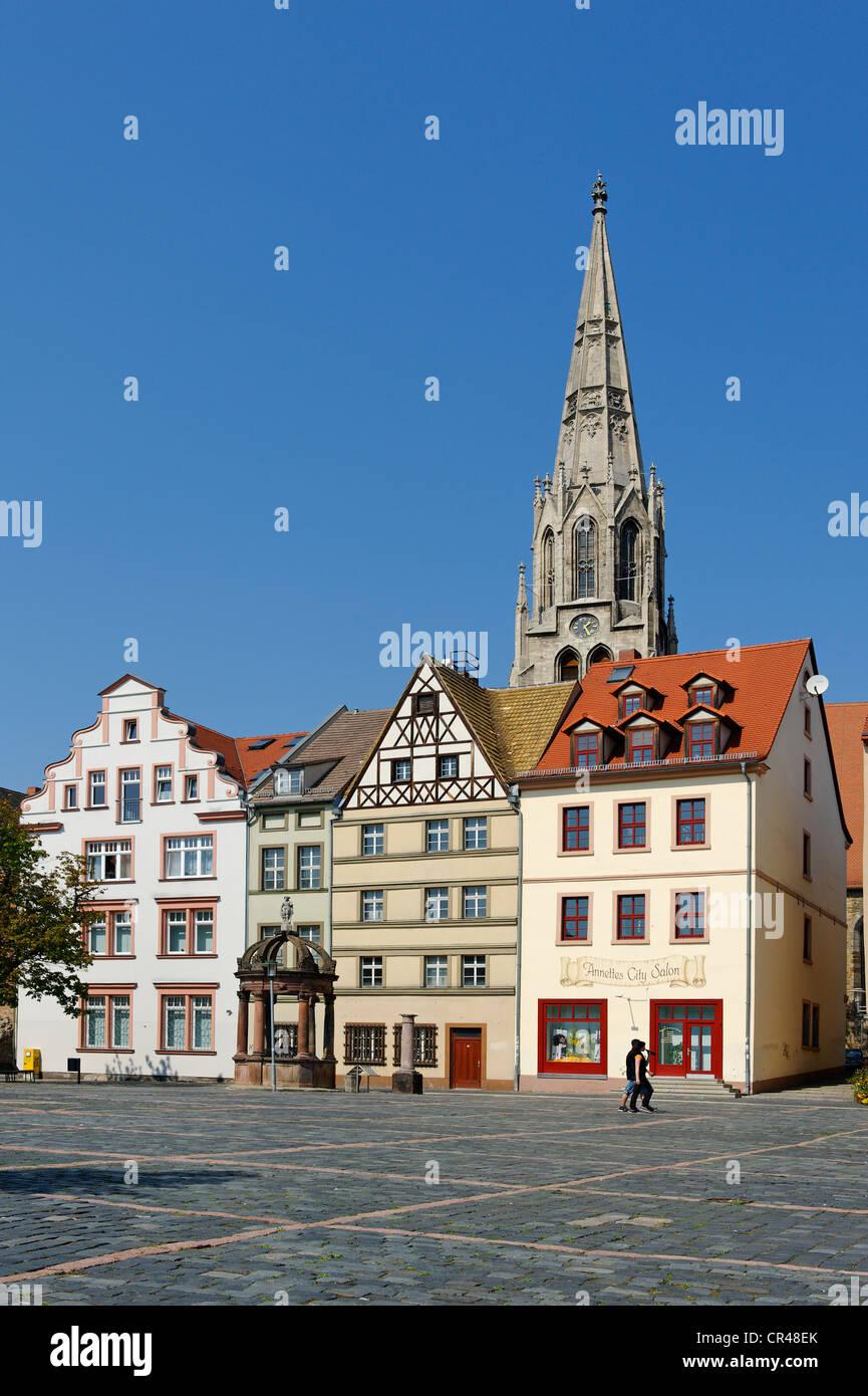 Markt, market square with St. Maximi church, Merseburg, Saxony-Anhalt, Germany, Europe - Stock Image