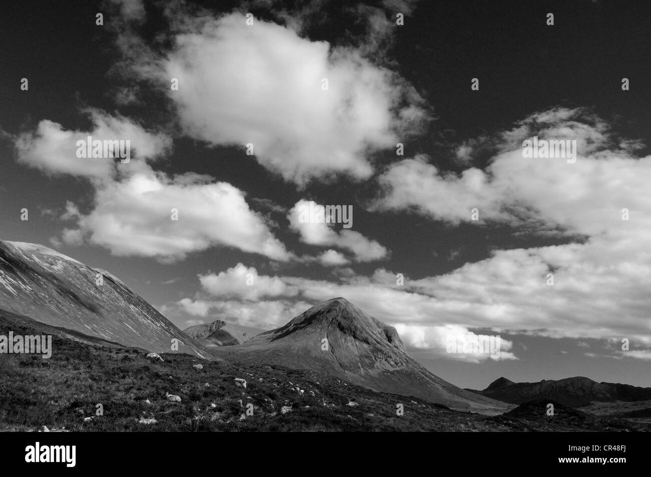 Dramatic skies over Marsco and Glen Sligachan, Isle of Skye, Inner Hebrides, Scotland - Stock Image