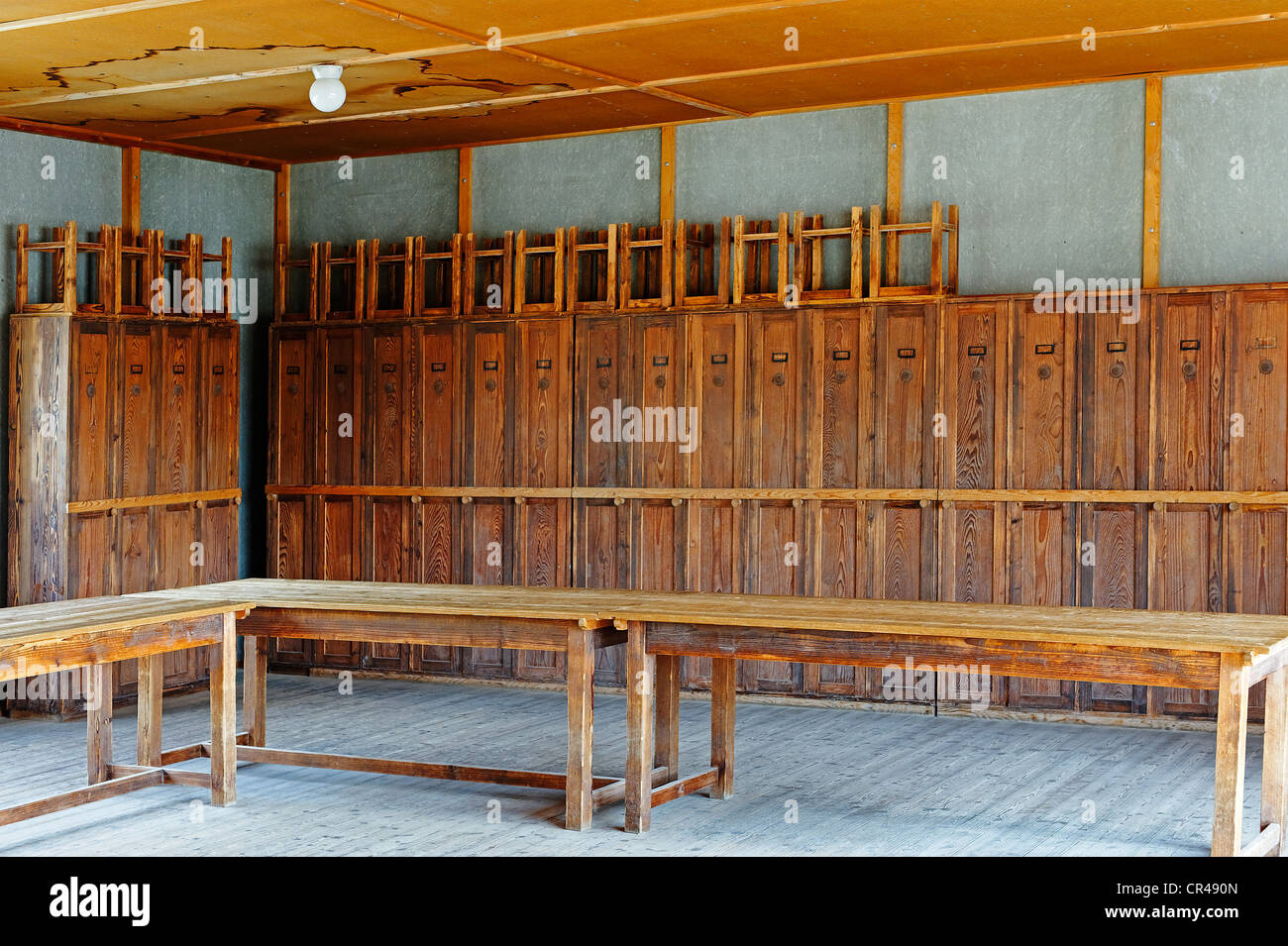 Living room with locker cupboards for prisoners, Dachau concentration camp, Upper Bavaria, Bavaria, Germany, Europe - Stock Image