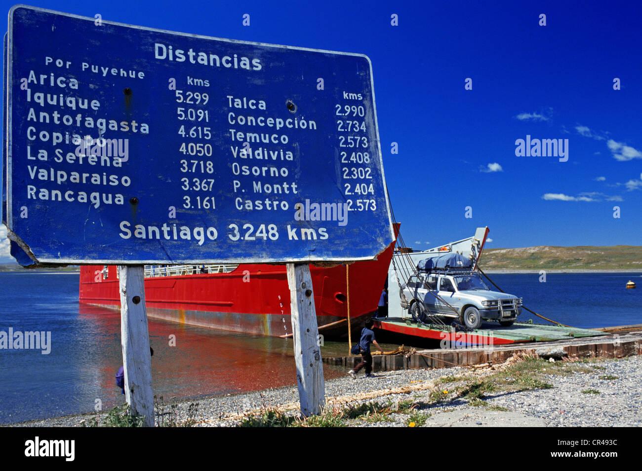 Chile, Magallanes and Antartica Chilena region, Magallanes Province, Punta Delgada, Primera Angostura Pier, ferry Stock Photo
