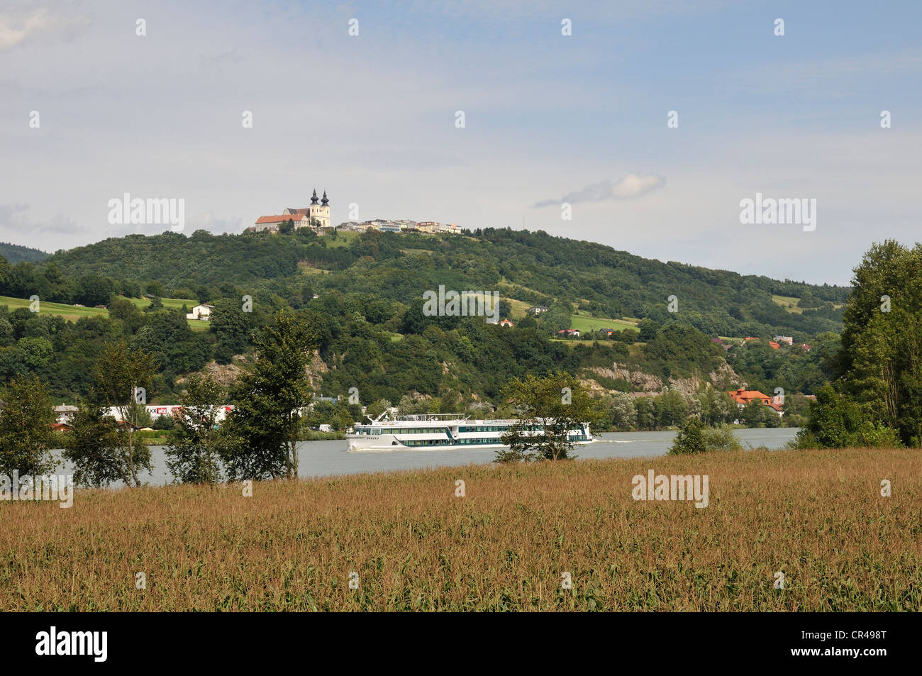 View over the Danube on the pilgrimage basilica in Maria Taferl, Lower Austria, Austria - Stock Image