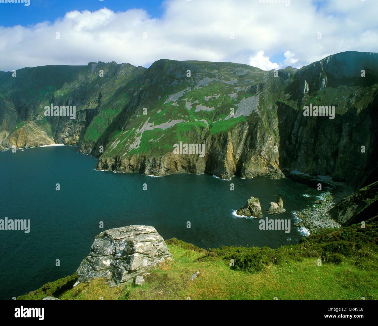 Steep coast Slieve League, County Donegal, Republic of Ireland, Europe - Stock Image