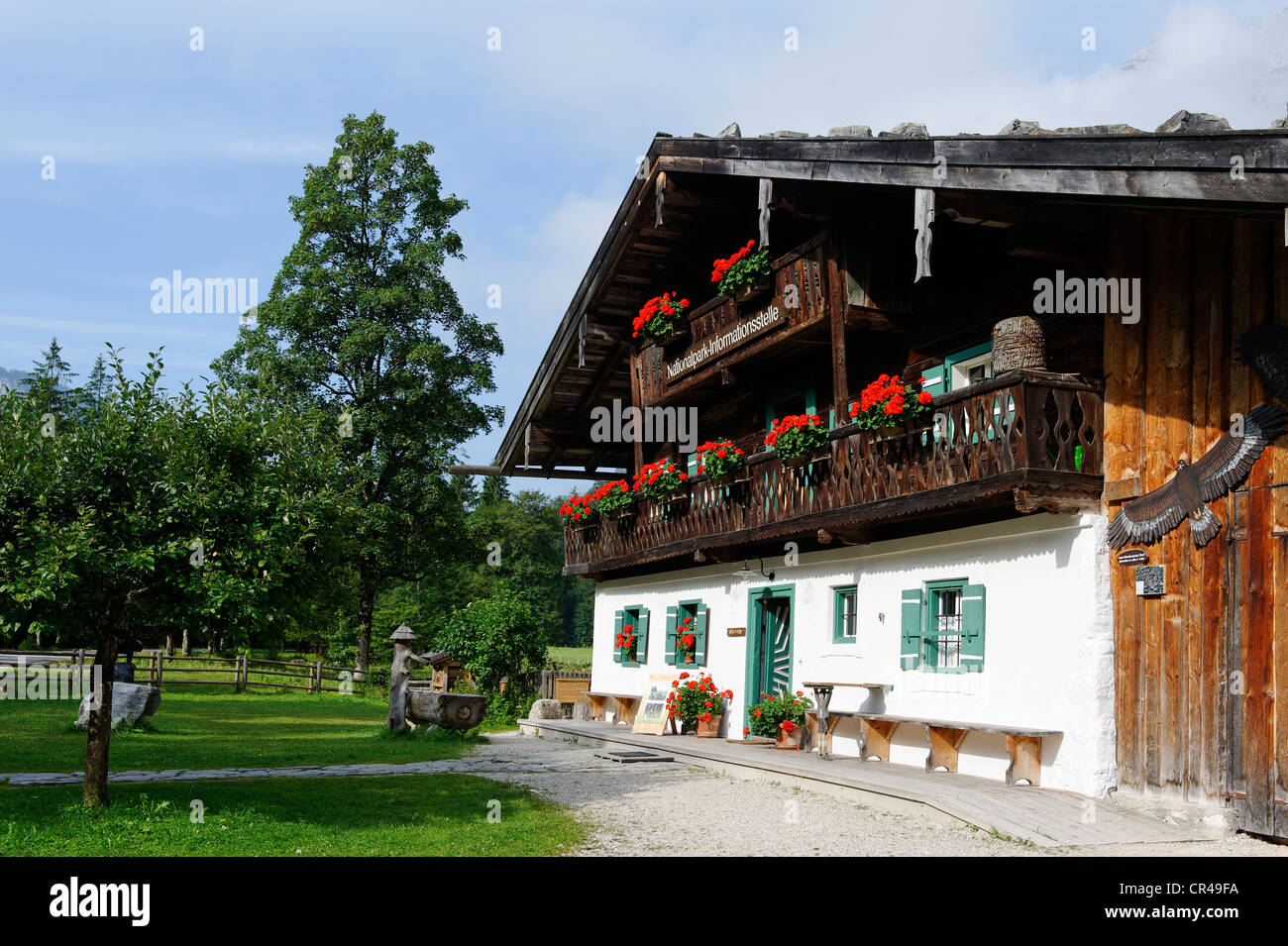 Farmhouse, Informationcenter of Berchtesgaden National Park, Hintersee, Berchtesgaden, Upper Bavaria, Bavaria, Germany, - Stock Image