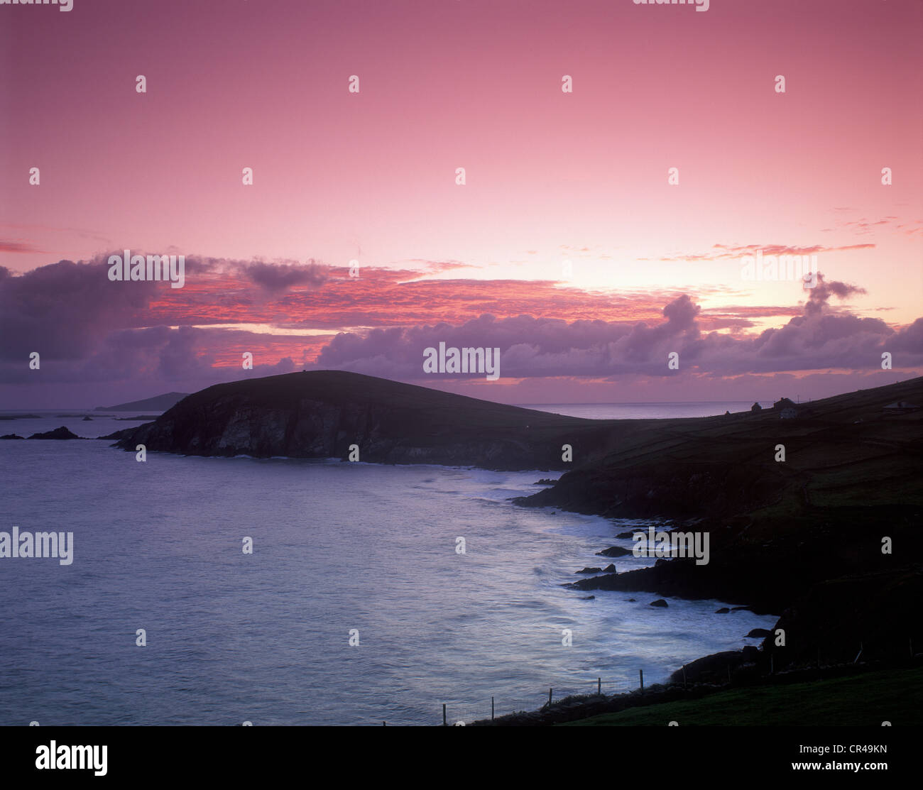 Afterglow, Slea Head, County Kerry, Republic of Ireland, Europe - Stock Image