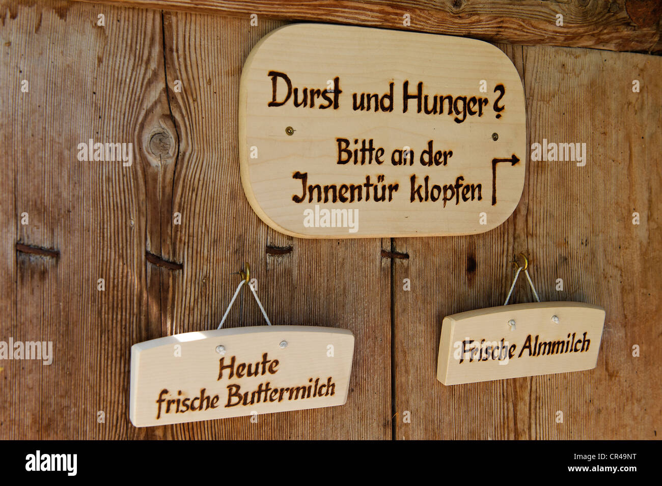 Dairy maid's wooden menus on Halsalm, Berchtesgaden National Park, Hintersee, Berchtesgaden, Upper Bavaria, - Stock Image