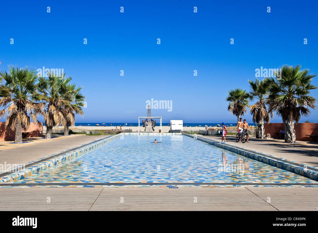 France, Aude, Corbieres, Port Leucate, pedestrain access to the ...
