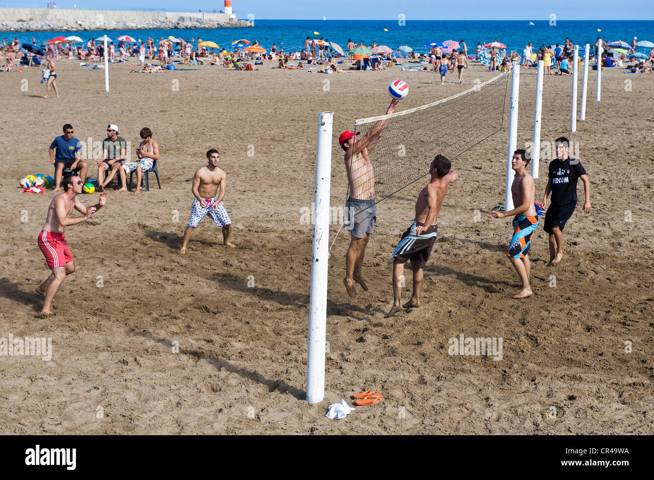 France, Aude, Corbieres, Port la Nouvelle, match of beach volley - Stock Image