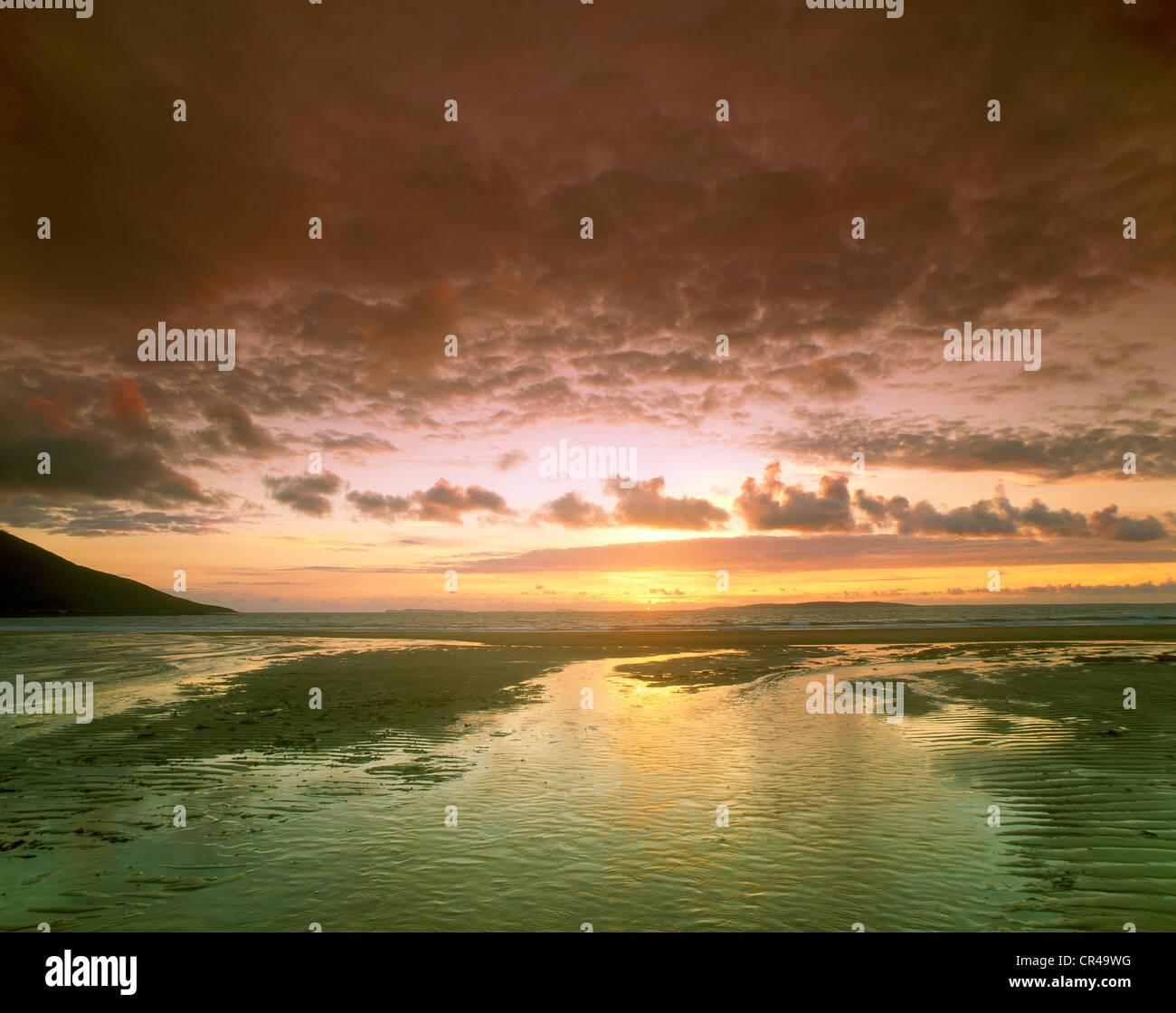 Sunset on the beach, Achill Island, County Mayo, Republic of Ireland, Europe - Stock Image