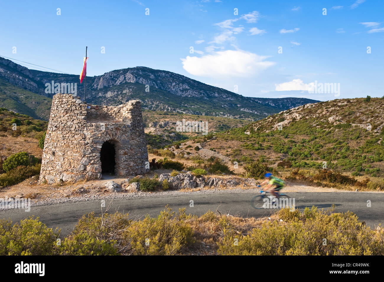 France, Aude, Corbieres, Feuilla, watch tower on the Route Treilles, road located on the old border separating France - Stock Image