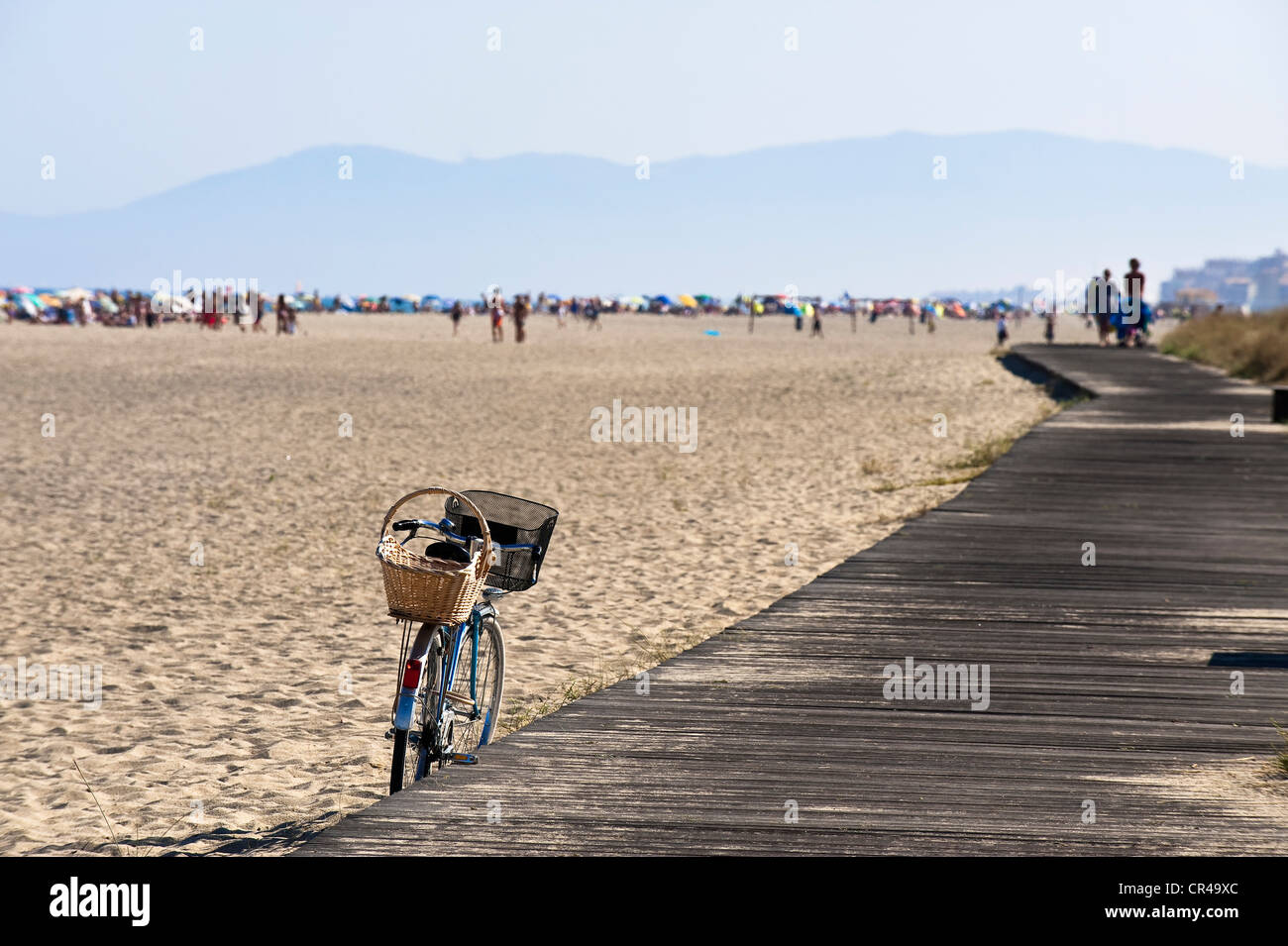 France, Aude, Corbieres, Port Leucate, beach of 18 km long ...