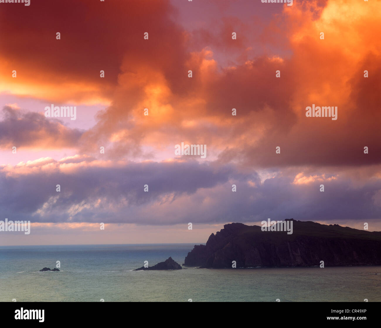 Afterglow, Horn Head, County Donegal, Republic of Ireland, Europe - Stock Image