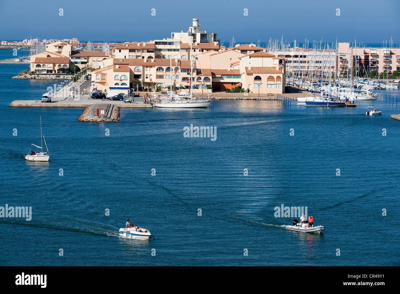 France, Aude, Corbieres, Port Leucate, entry of the marina which can ...