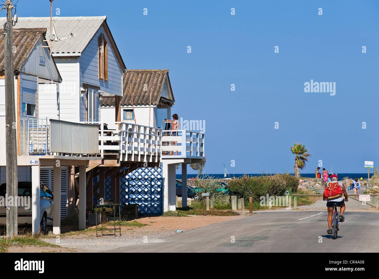 Plage Des Chalets A Gruissan france, aude, corbieres, gruissan plage, village with