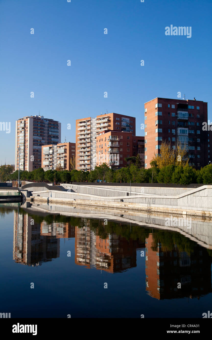Manzanares river and Madrid Rio park, an ecological development in the city of Madrid, Spain, Europe Stock Photo