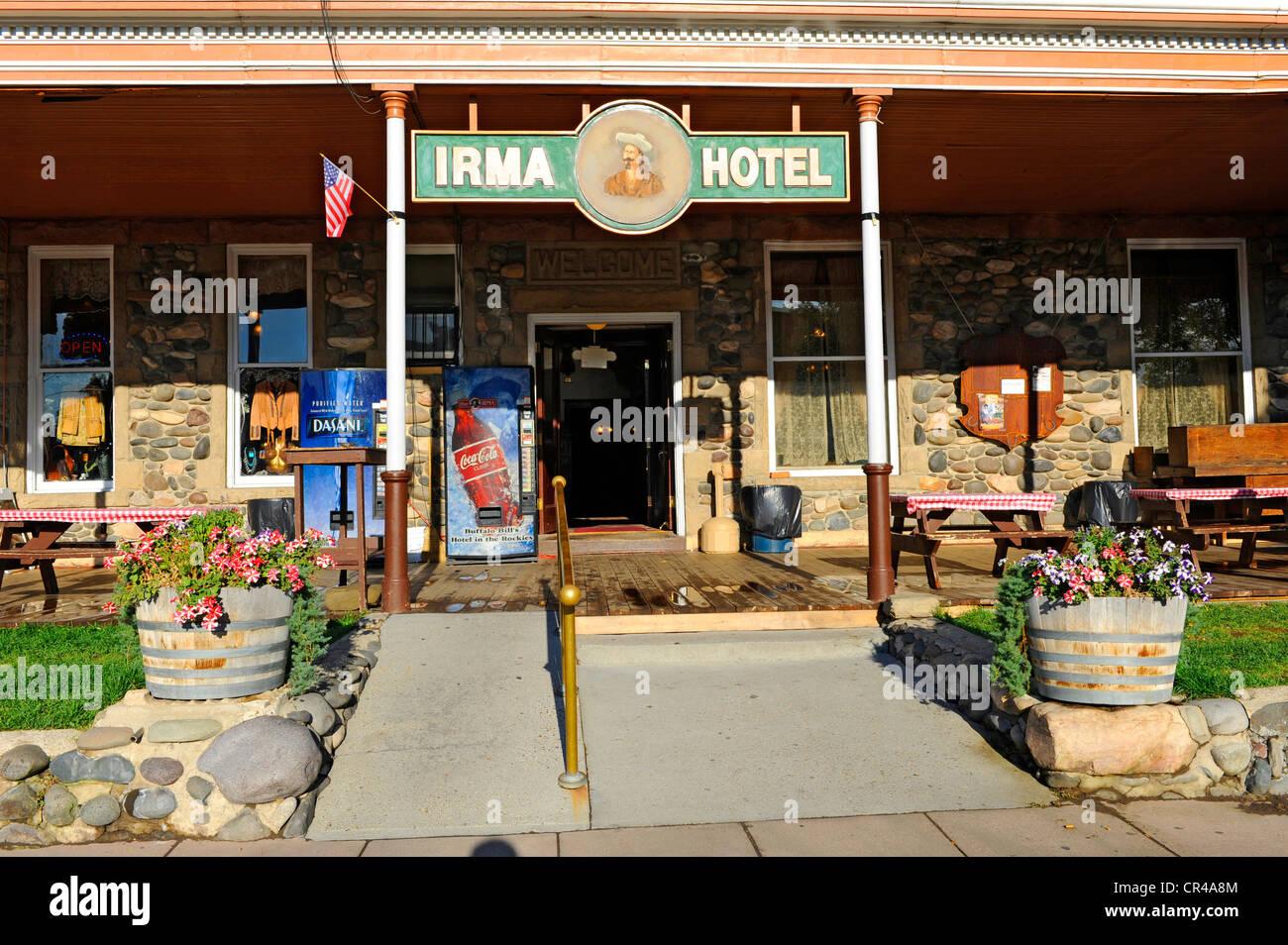 Irma Hotel Restaurant Cody Wyoming WY Buffalo Bill Wild West Historic Yellowstone National Park - Stock Image