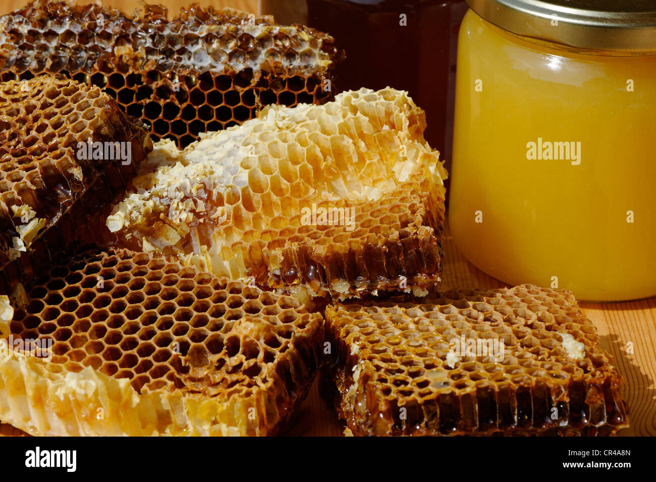 Spring honey in jars with honeycombs containing honey - Stock Image