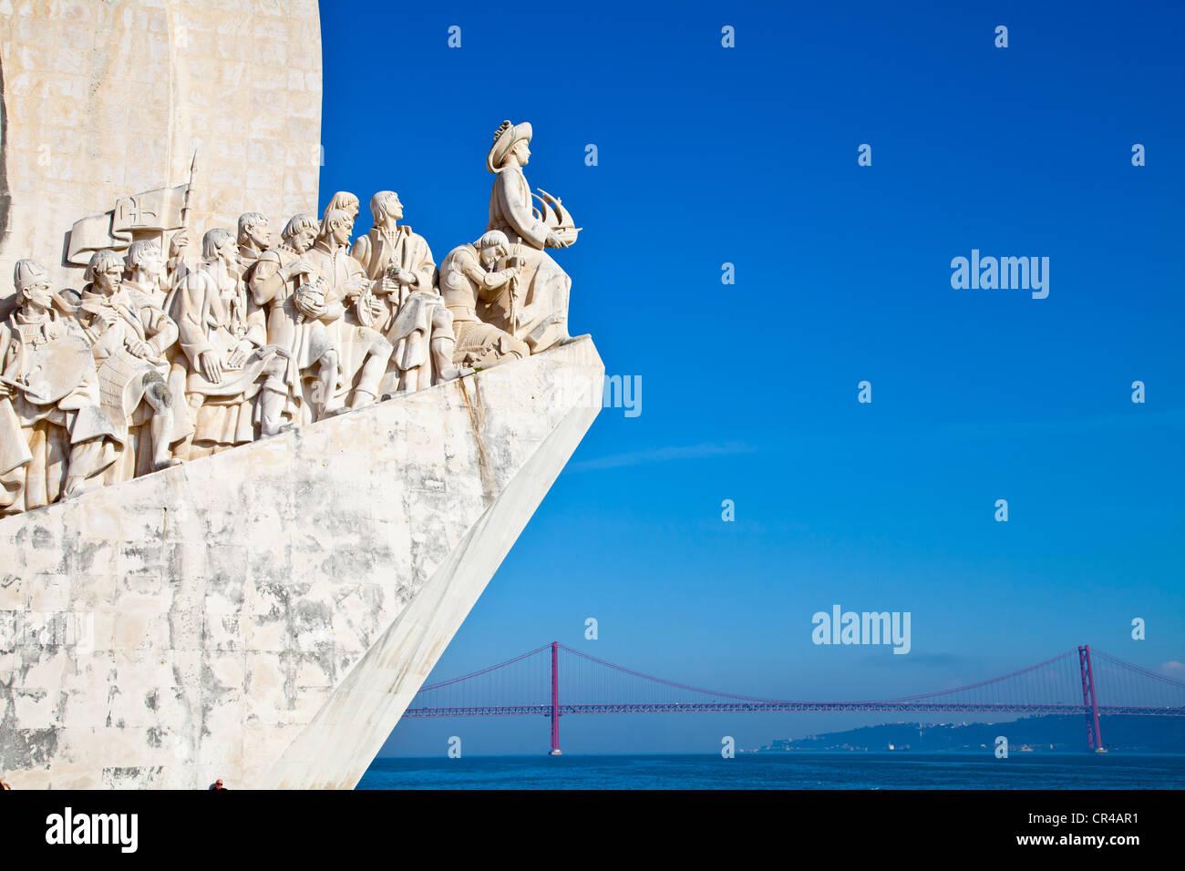Padrão dos Descobrimentos, Monument to the Discoveries, celebrating Henri the Navigator and the Portuguese Age of Stock Photo