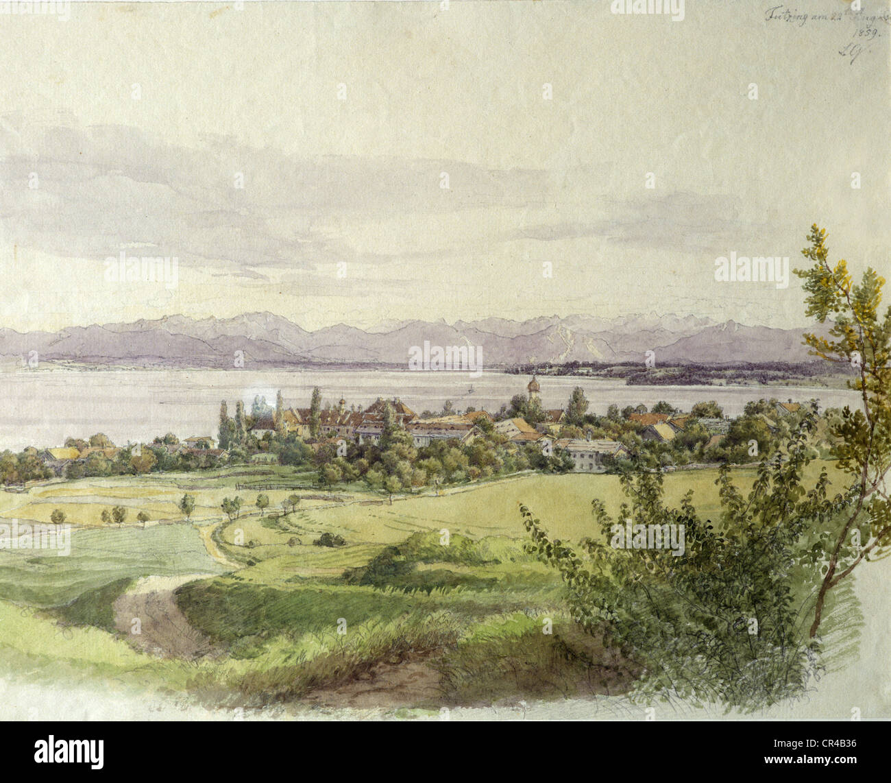Castle and village of Tutzing, Lake Starnberg, watercolour by L. Quaglio, 22.08.1859, Upper Bavaria, Germany, Europe - Stock Image