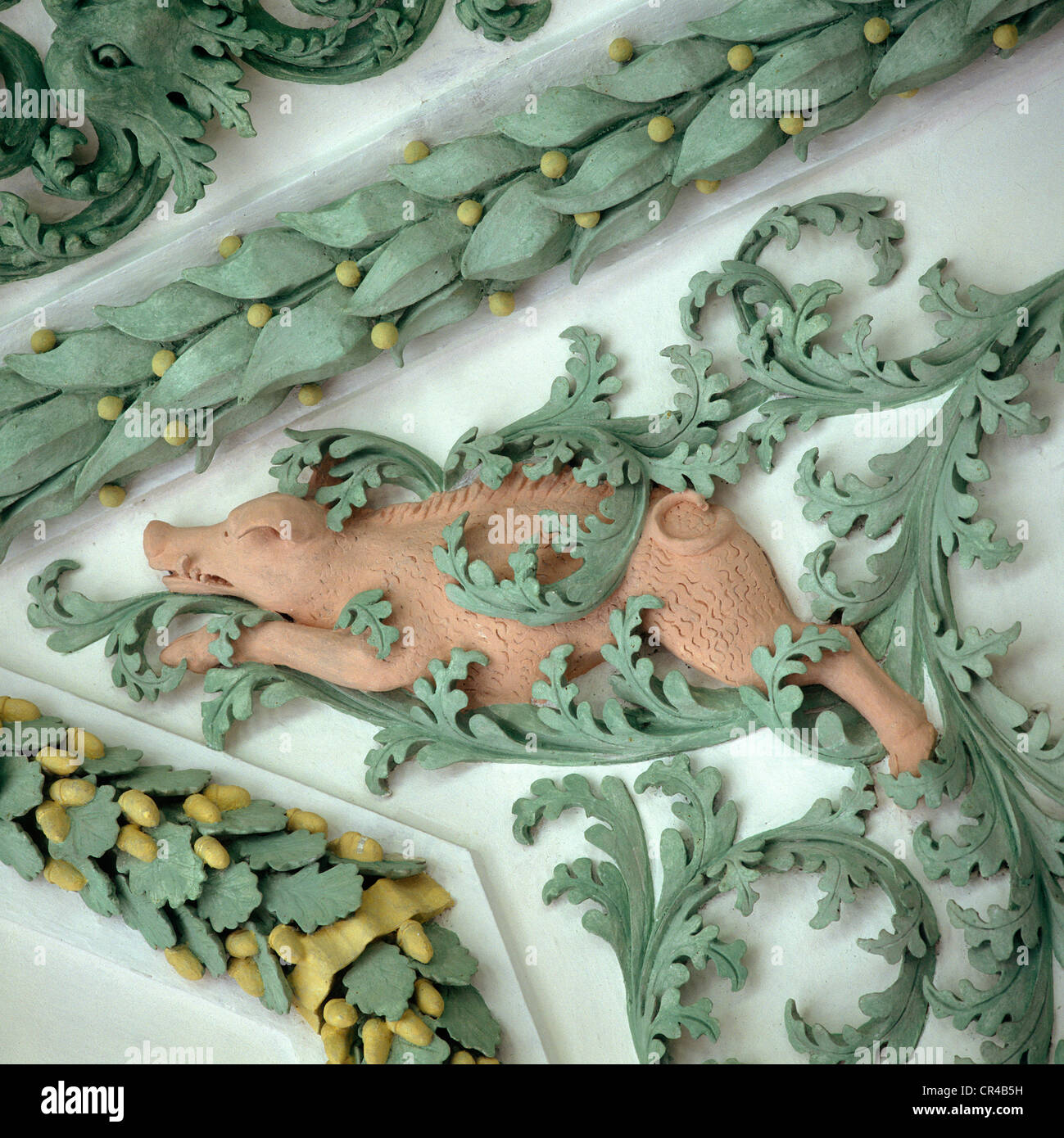 Wild boar, stucco J. Schmuzer, 1685-1690, Tassilo Hall, Wessobrunn, Upper Bavaria, Bavaria, Germany, Europe - Stock Image