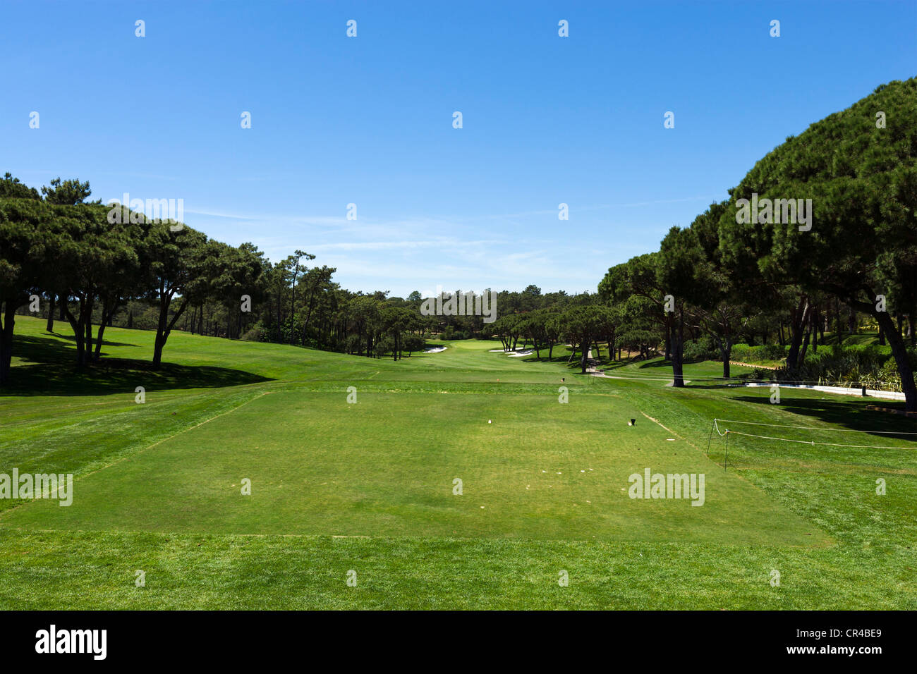 Tee and Fairway on the South Course near Vilar do Golf, Quinta do Lago, Algarve, Portugal - Stock Image