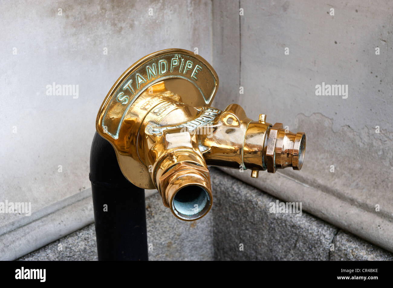 Gold plated water access for the fire brigade at the Davenport hotel on Merrion square, Dublin, Republic of Ireland, - Stock Image