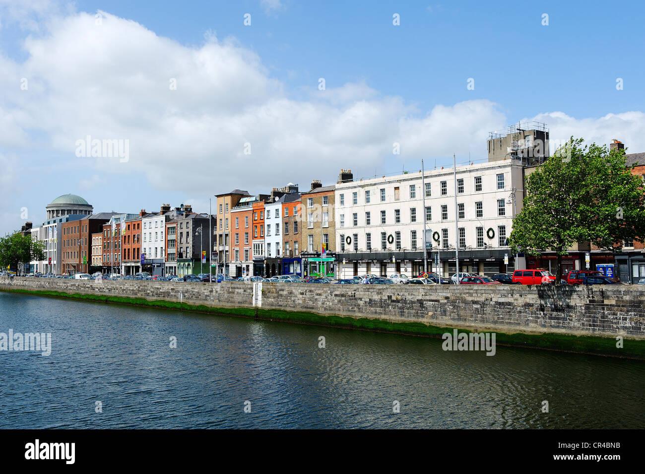 Houses on the Liffey river, Dublin, Republic of Ireland, Europe - Stock Image