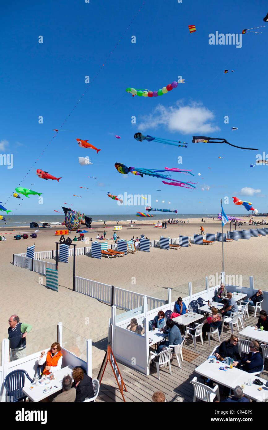 Kites at the International Kite Festival in Ostend, West Flanders, Belgium, Europe - Stock Image