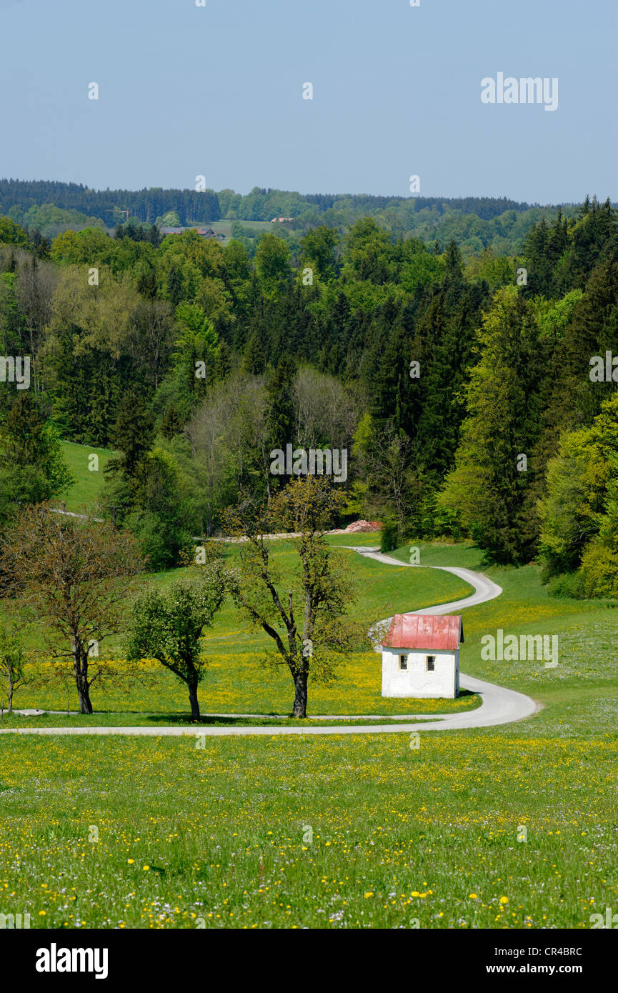 Little chapel on the roadside at Grund, near Miesbach, Upper Bavaria, Bavaria, Germany, Europe - Stock Image