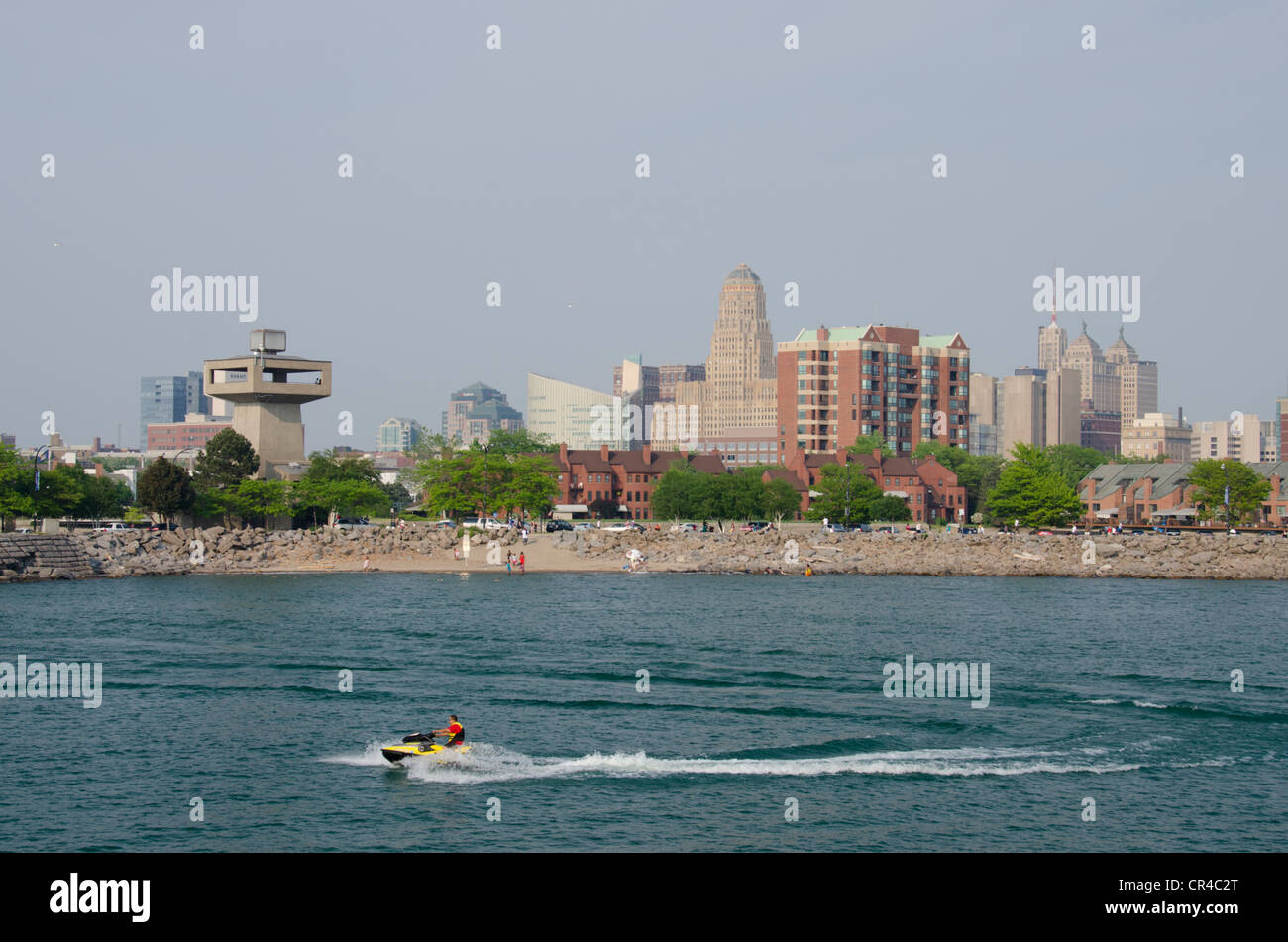 New York, Buffalo. Lake Erie view of historic downtown Buffalo skyline, art deco City Hall in distance. - Stock Image