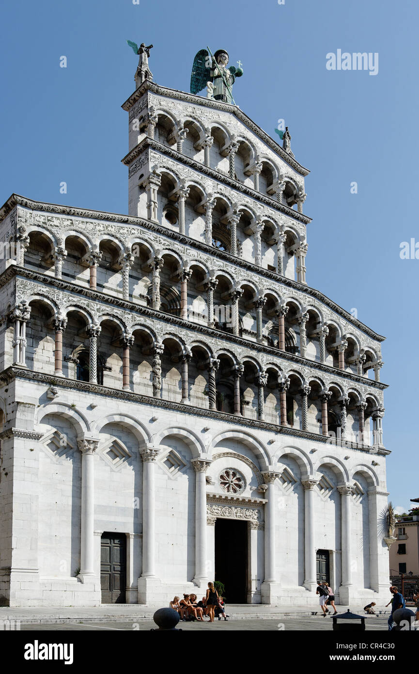 Church San Michele in Foro, Lucca, Tuscany, Italy, Europe - Stock Image
