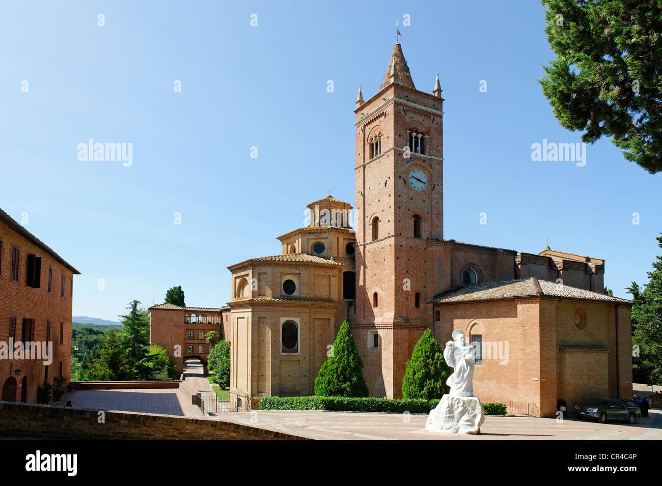 Benedictine monastery, territorial abbey of Monte Oliveto Maggiore, south of Siena, Crete Senesi, Tuscany, Italy, - Stock Image