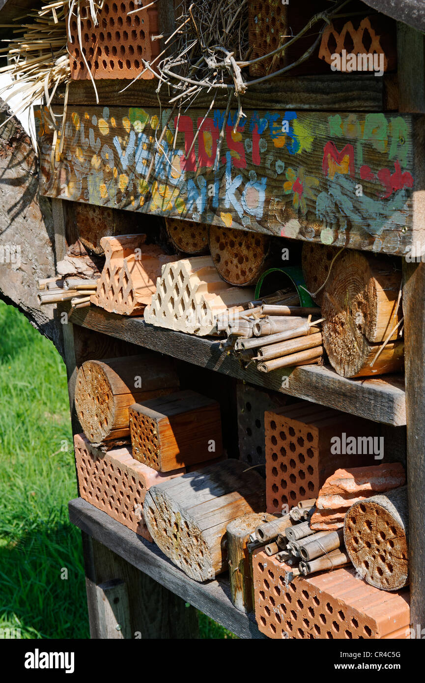 Hotel for wild bees and insects, Insect Hotel, natural gardening, Niederaudorf in the Bavarian Inn Valley, Upper - Stock Image