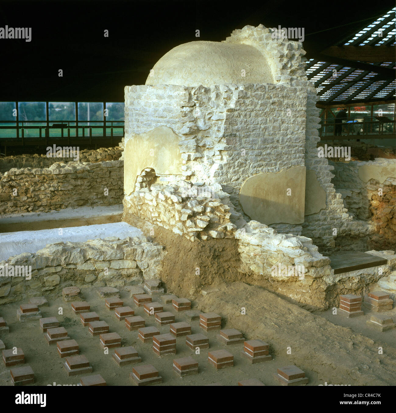 Sweat bath in front of the cold bath, reconstruction, Roman excavations, Weissenburg, Central Franconia, Franconia, - Stock Image