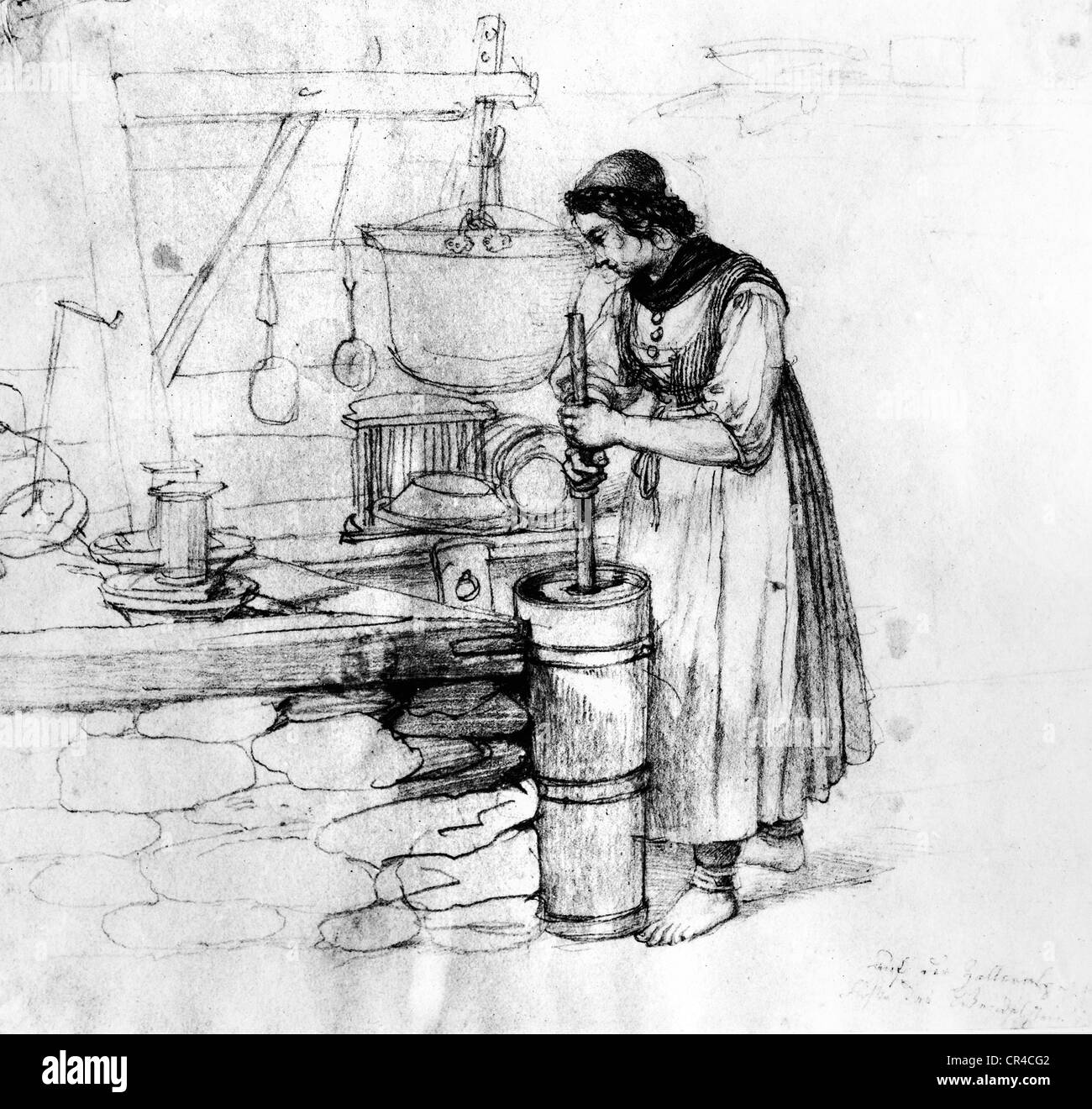 Dairymaid, Zelleralm, Wendelstein, Upper Bavaria, Germany, Europe, historical drawing by L. Quaglio, 1826 - Stock Image