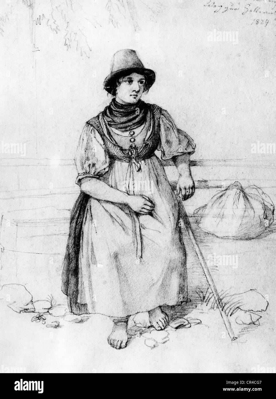 Dairymaid, Zelleralm, Wendelstein, Upper Bavaria, Germany, Europe, historical drawing by L. Quaglio, 1824 - Stock Image