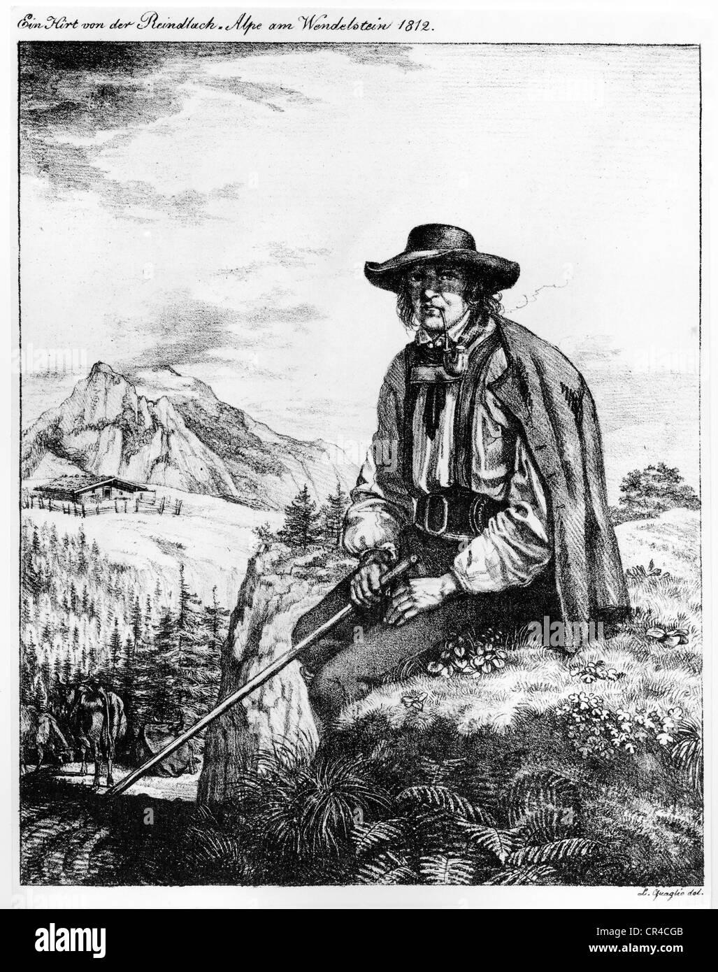 Herder, Reidlachalm, Wendelstein, Upper Bavaria, Germany, Europe, historical drawing by L. Quaglio, 1812 - Stock Image