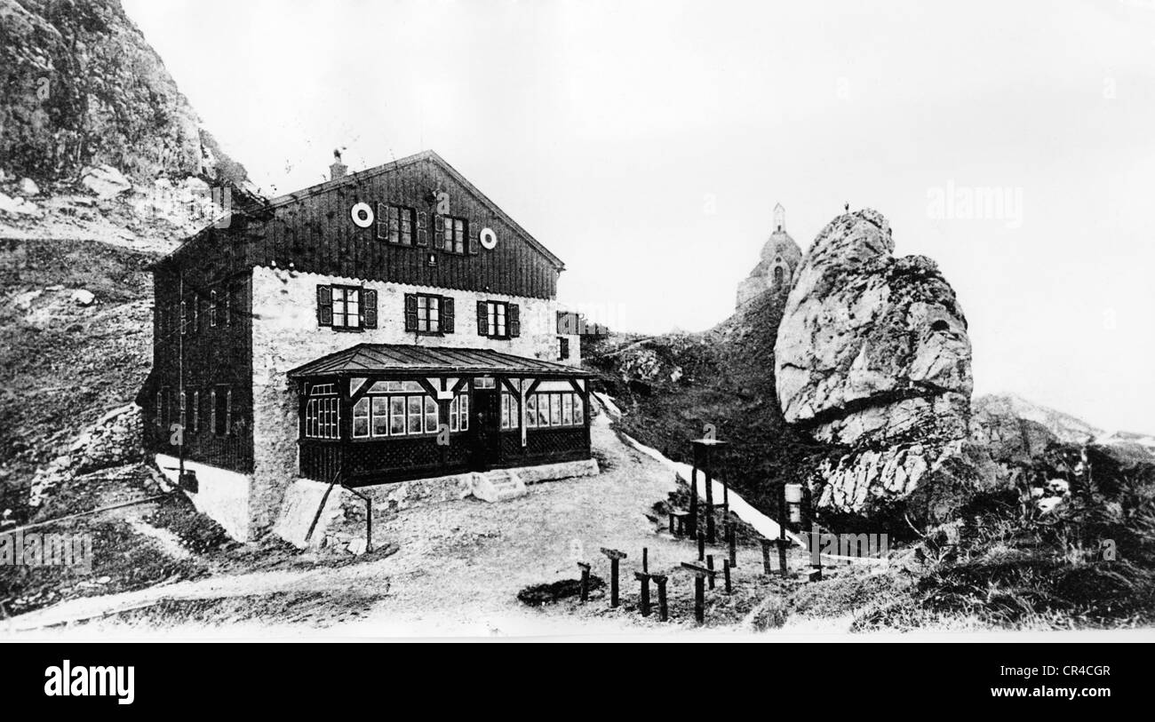 Mountain lodge with Wendelstein chapel, Wendelstein, Upper Bavaria, Germany, Europe, historical postcard, about Stock Photo