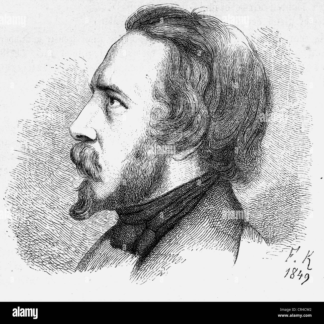 Franz Emanuel August Geibel (1815 - 1884), poet, steel engraving according a drawing from F. Kugler, 1849 - Stock Image
