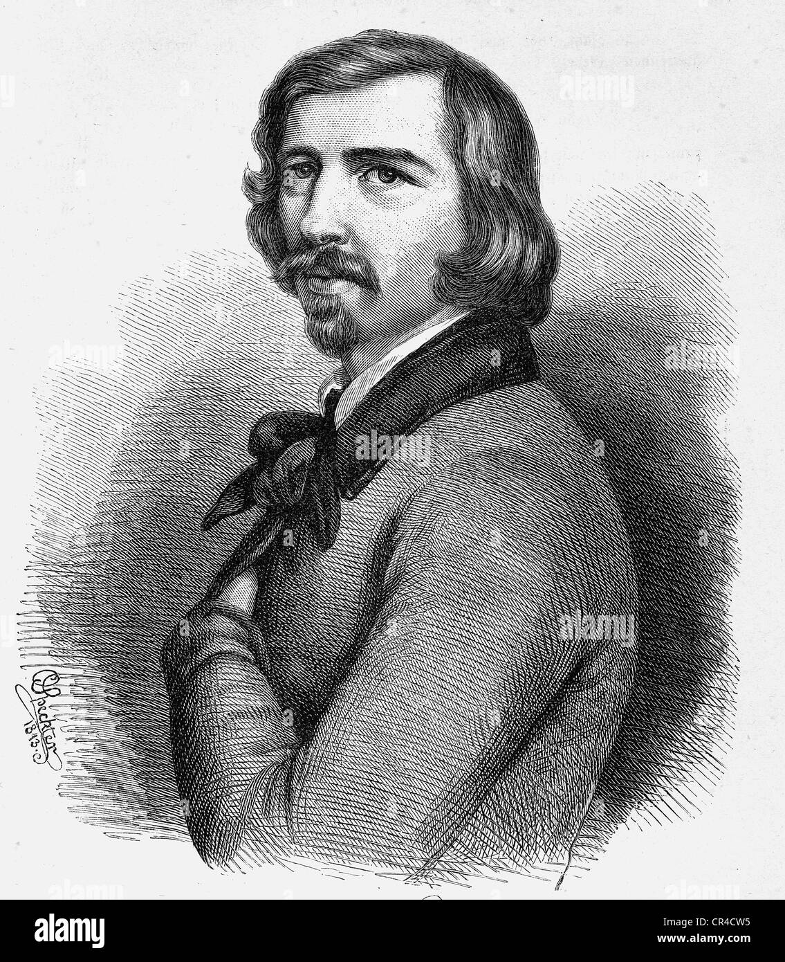 Franz Emanuel August Geibel (1815 - 1884), poet, steel engraving according a drawing from 1843 - Stock Image