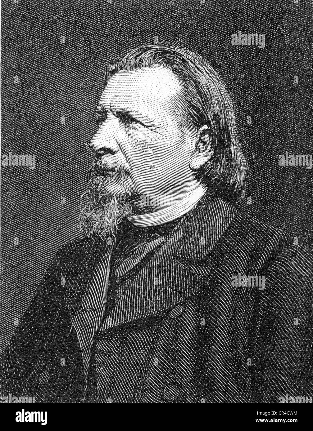 Karl Ferdinand Gutzkow (1811 - 1878), writer, steel engraving according to a photo from c. 1875 Stock Photo