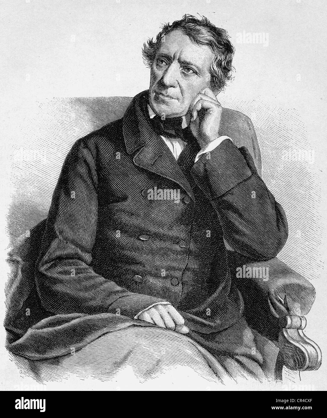 Franz Grillparzer (1791 - 1872), writer, steel engraving, 1858 - Stock Image