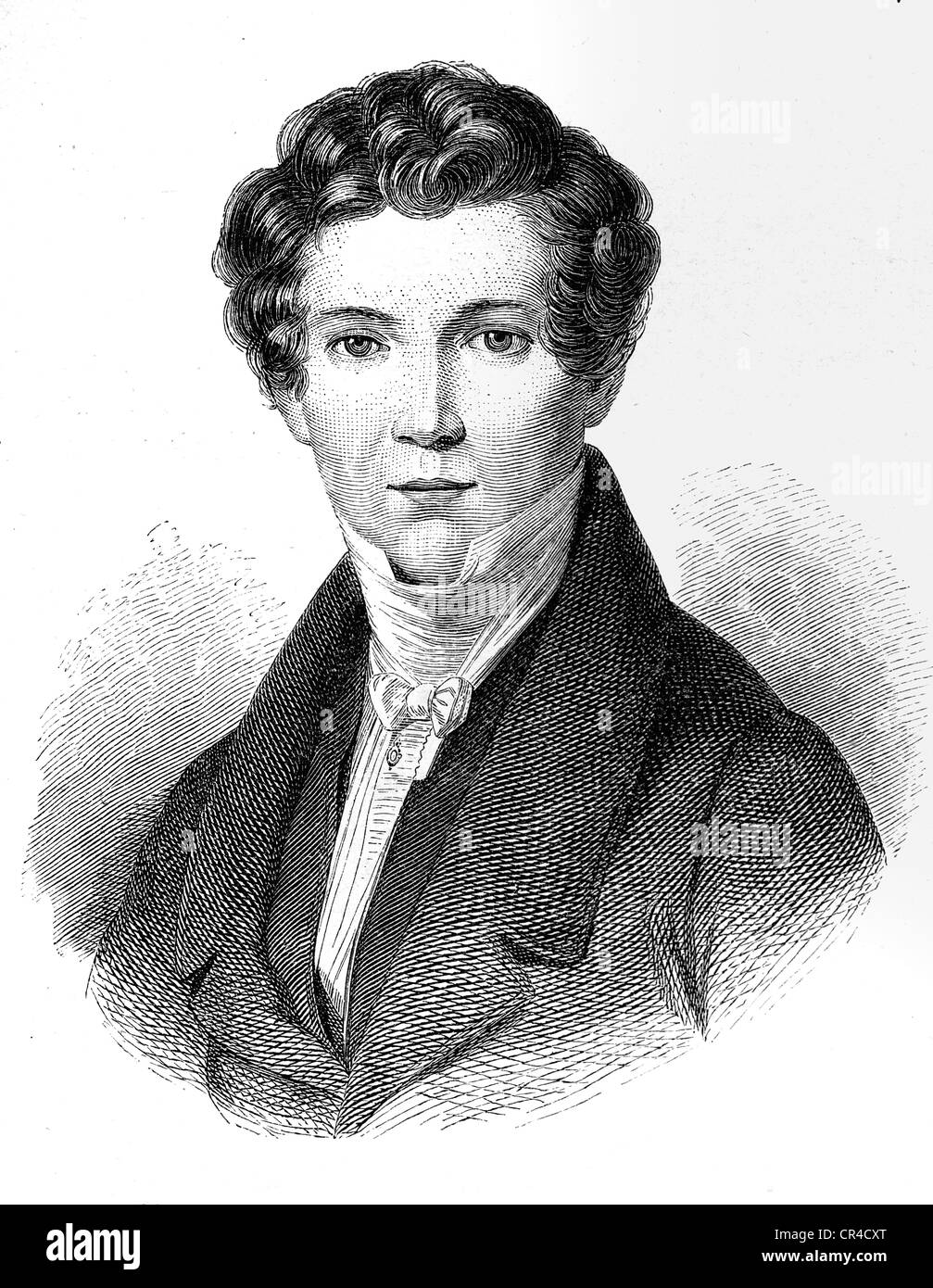 Wilhelm Hauff (1802 - 1827), writer, steel engraving after an oil picture by J.M. Holder - Stock Image