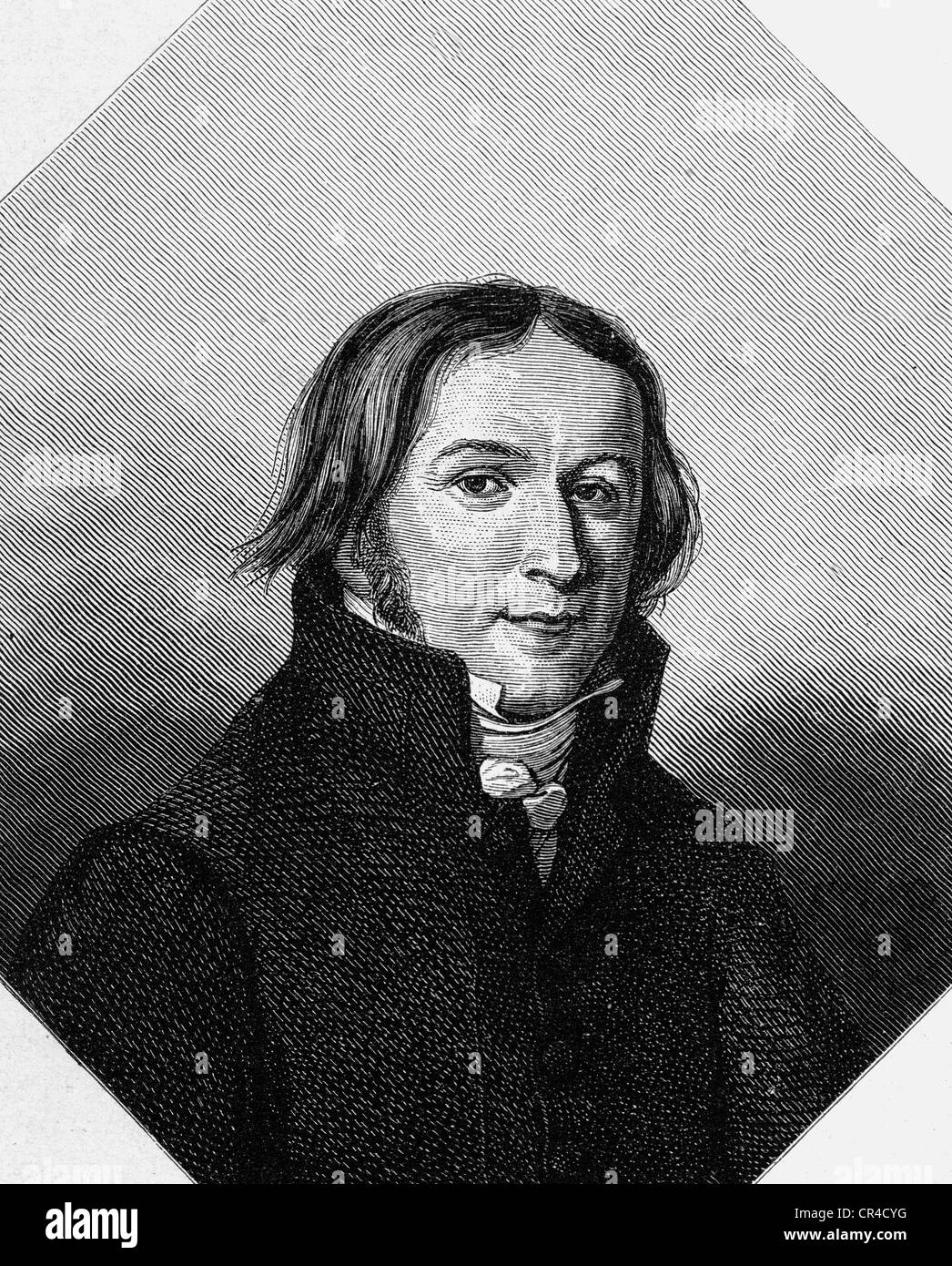 Ernst Moritz Arndt (1769-1860), poet, writer, after a drawing from 1817, steel engraving, before 1880 - Stock Image