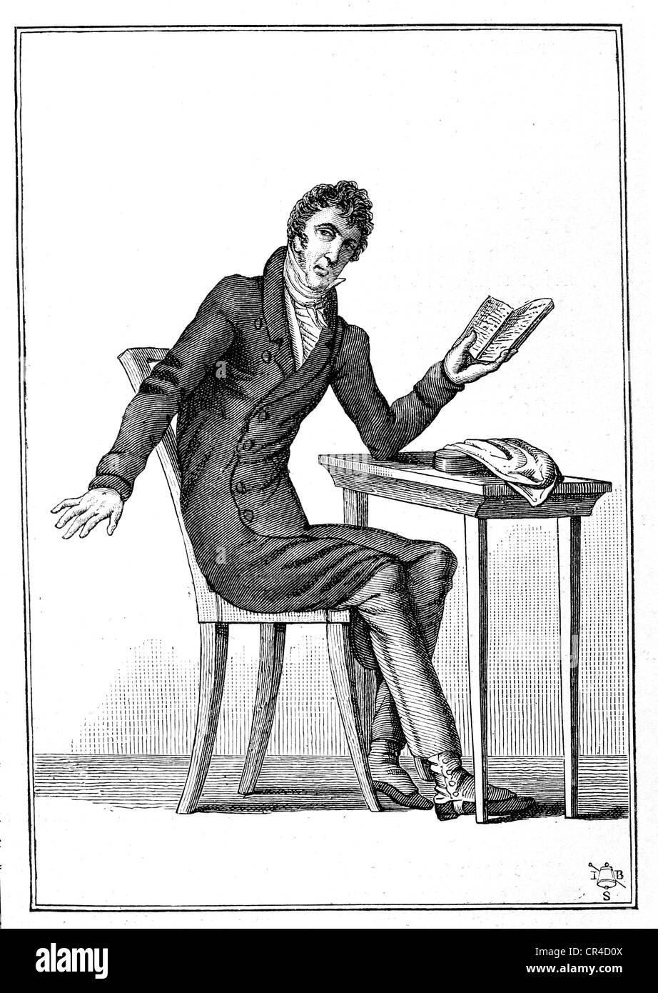 Zacharias Werner (1768-1823), poet, dramatist, steel engraving, before 1880 - Stock Image