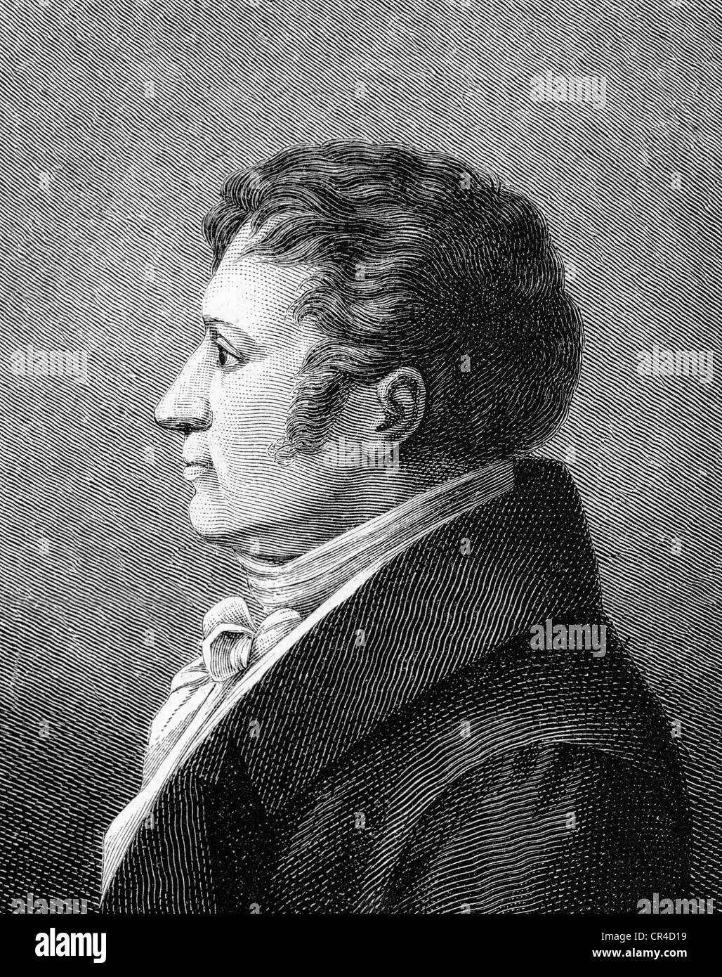 August Wilhelm von Schlegel (1767-1845), historican, publicist, steel engraving, before 1880 - Stock Image
