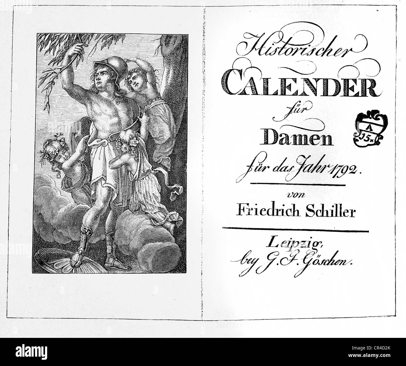 Front page of 'Historischer Kalender fuer Damen, 1792', historical diary for ladies, edited by Fr. Schiller - Stock Image