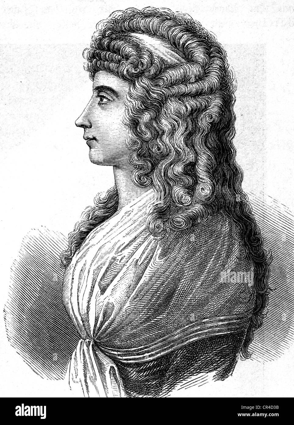 Charlotte von Stein (1742-1827), girlfriend J.W. von Goethe and Fr. Schiller, steel engraving, before 1880 - Stock Image