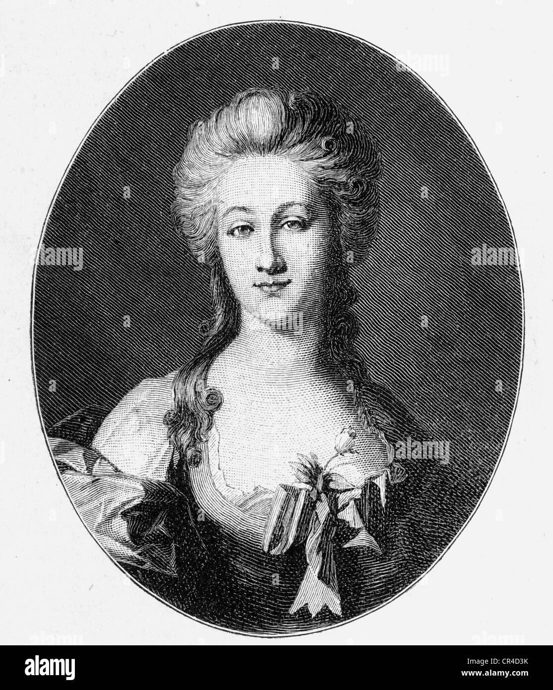 Anna Elisabeth Schoenemann, Lili Schonemann (1758-1817), fiancé of J.W. von Goethe, steel engraving, before - Stock Image