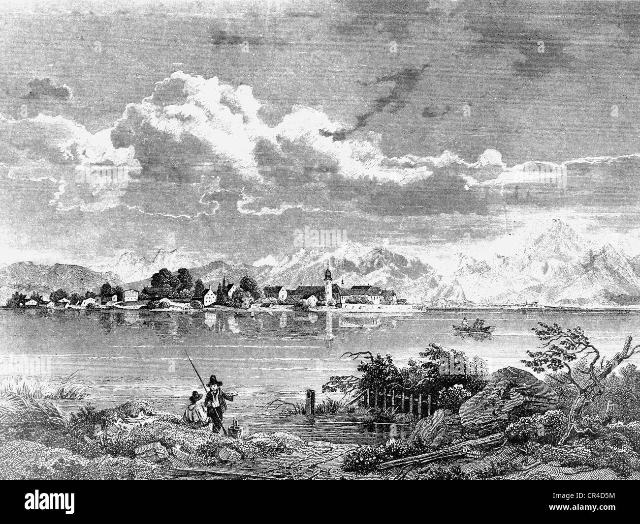 Frauenchiemsee island in Lake Chiemsee, in front of the Chiemgau mountains, about 1830, drawn by W. Scheuchzer Stock Photo