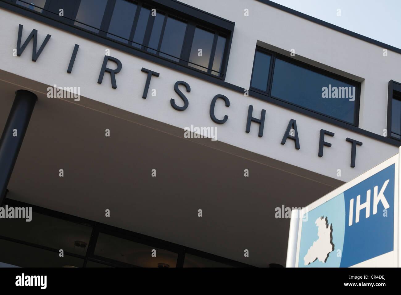 Signage, Wirtschaft, German for business, Haus der Wirtschaft, IHK, Chamber of Commerce and Industry Heilbronn-Franken Stock Photo